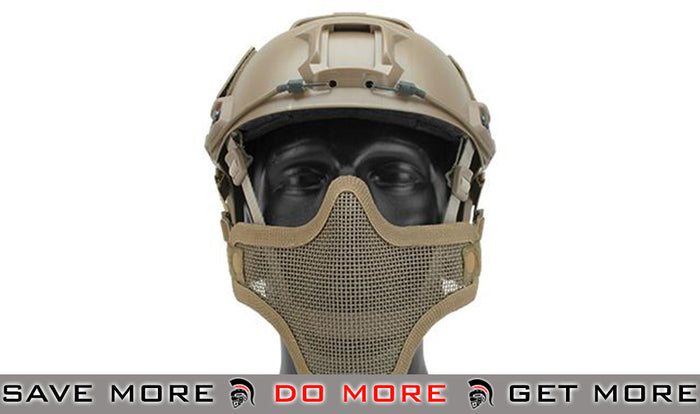 "6mmProShop ""Striker V1"" Iron Face Mesh Lower Half Mask for Use with Bump Helmets - Tan"