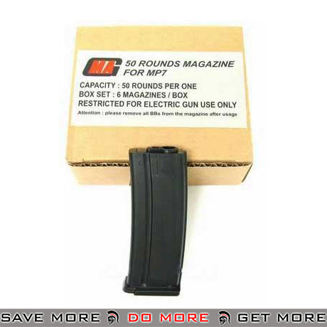 MAG 50 Round Mid Cap Magazine for MP7 / MK7 Series Airsoft AEG SMG's - Box of Six magazine- ModernAirsoft.com