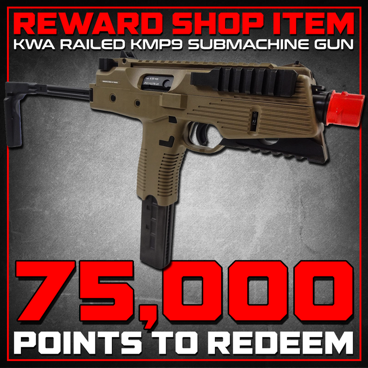 Reward Shop Item - KWA KMP9 Gas Blowback Airsoft Submachine Gun (NS2 System) - Dark Earth Gas Blowback Rifle- ModernAirsoft.com