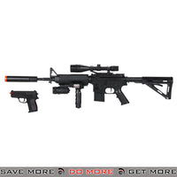 UKArms P1158D M4 Carbine Airsoft Spring Power Rifle w/ Scope, Laser, Flashlight & Bonus Pistol Air Spring Rifles- ModernAirsoft.com