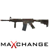 z MaxChange Used Camo KWA Full Metal PTR LM4 Airsoft Gas Blowback Rifle w/ RIS Handguard