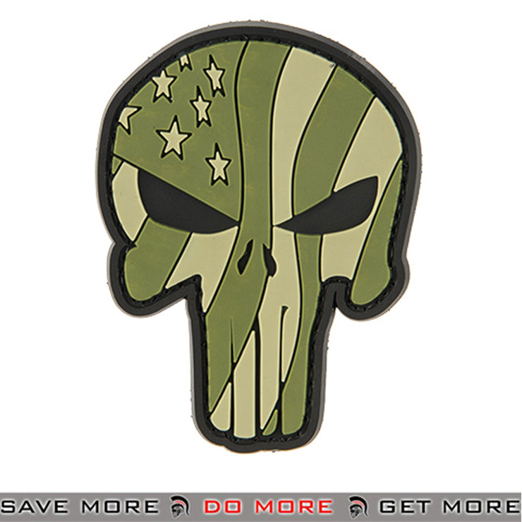 G-Force Punisher Flag PVC Airsoft Morale Patch Green Waving US Flag