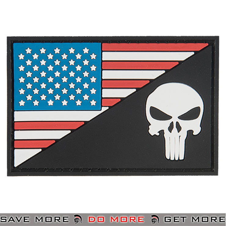 G-Force US Flag With Punisher Airsoft Velcro PVC Morale Patch