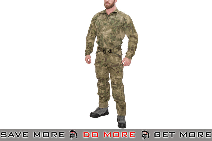 Lancer Tactical Camoflage Rugged Combat Uniform w/ Integrated Pads - AT-FG Shirts- ModernAirsoft.com