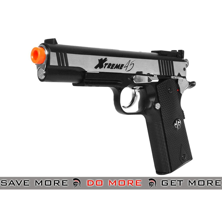 G&G Two Tone Silver Xtreme 45 Full Metal Co2 Powered Airsoft Gas Blowback Pistol CO2- ModernAirsoft.com