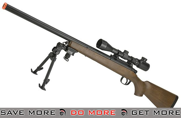 AGM M700 Airsoft Bolt Action Sniper Rifle with Scope Rail with Imitation Wood M700 / M24 / M28 / M40 / VSR-10- ModernAirsoft.com