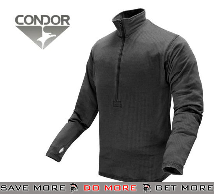Condor Black Large Cold Weather BASE II Zip Pullover Thermals / Cold Weather- ModernAirsoft.com