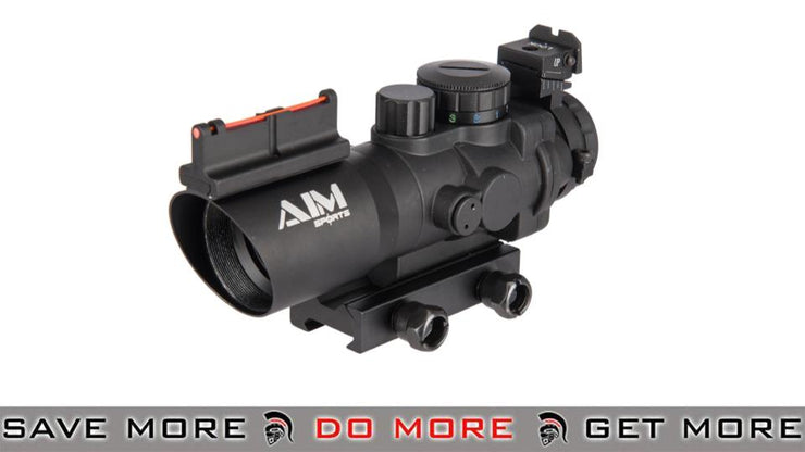 AIM Sports 4x32 Tri Illuminated Scope with Fiber Optic Sight (Red/Blue/Green)