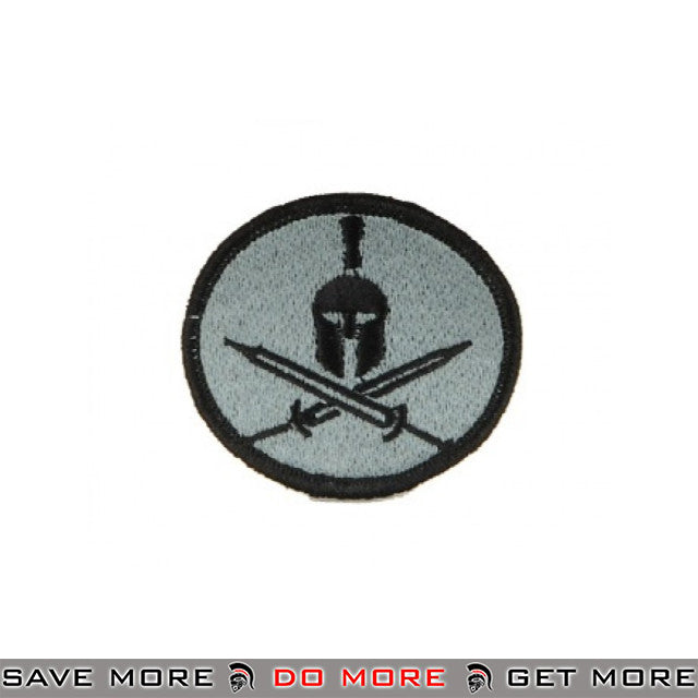 Lancer Tactical Velcro Morale Patch AC-114 - Spartan Crossed Swords, Gray Patch- ModernAirsoft.com