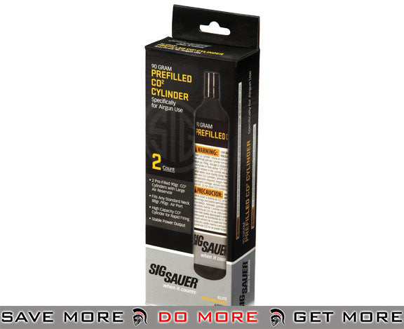 Sig Sauer Elite Performance Series Airgun 90g Prefilled CO2 Cylinder (Qty: 2 PACK) Airsoft Gas & Co2- ModernAirsoft.com