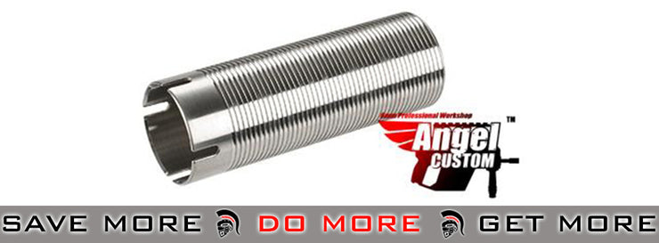 Angel Custom CNC Advanced Stainless Ribbed Airsoft AEG Cylinder 410mm+ Cylinders- ModernAirsoft.com