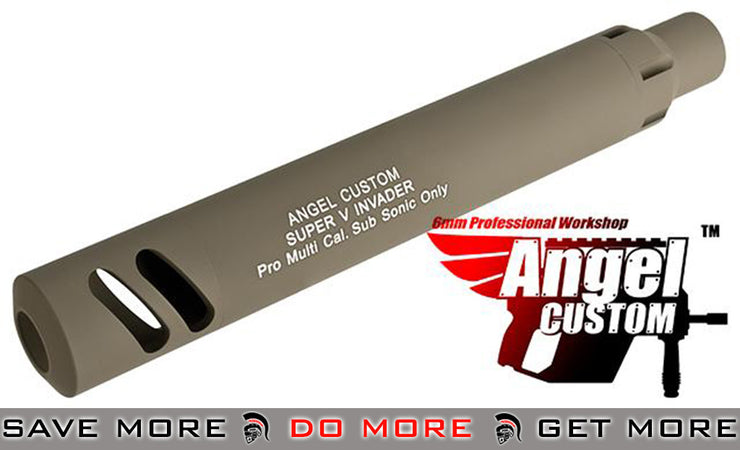 Angel Custom Super-V Invader Mock Silencer w/ Tightbore Inner Barrel for Airsoft GBB SMG 500+ FPS/Short (Dark Earth) Mock Silencer- ModernAirsoft.com