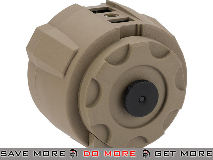Angel Custom 1500 Round Firestorm Airsoft AEG Drum Flashmag (Dark Earth / Body) Electric Gun Magazine- ModernAirsoft.com