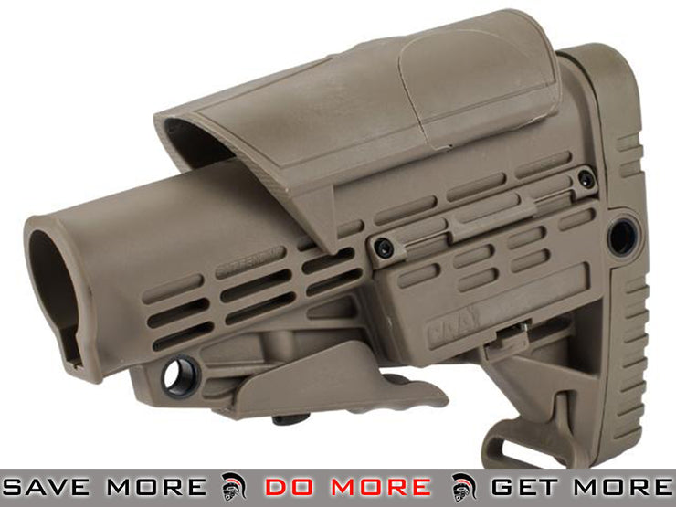 CAA Airsoft CBS+ACP Rifle Stock for M4 Airsoft AEG - Dark Earth Crane Stock Type- ModernAirsoft.com
