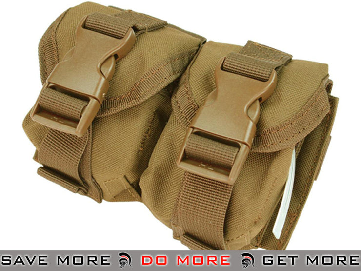Condor Tactical Double Frag Grenade Pouch (Coyote Brown) Black Pouches- ModernAirsoft.com