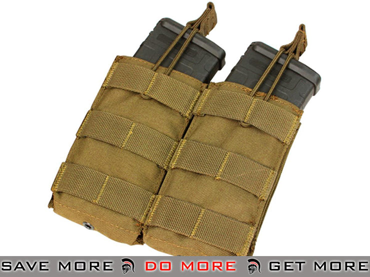 Condor Coyote Brown Tactical Open Top Double AR15 / M4 / M16 / 5.56 NATO Magazine Pouch Tan / Desert / Coyote / FDE- ModernAirsoft.com