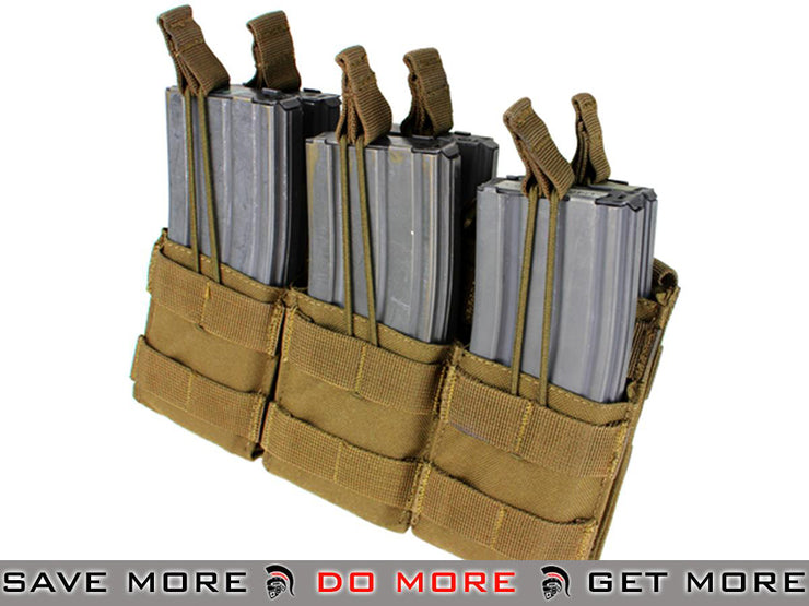 Condor Coyote Brown Tactical Open Top Triple Stacker AR15 / M4 / M16 / 5.56 NATO Magazine Pouch Tan / Desert / Coyote / FDE- ModernAirsoft.com