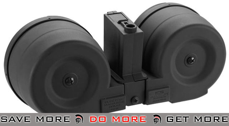 ICS 2500rd Adaptive Drum Magazine for Airsoft AEG Rifles w/ M4 Mag Adapter - (Color: Black) Electric Gun Magazine- ModernAirsoft.com