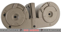 ICS 2500rd Adaptive Drum Magazine for Airsoft AEG Rifles w/ M4 Mag Adapter - Tan Electric Gun Magazine- ModernAirsoft.com