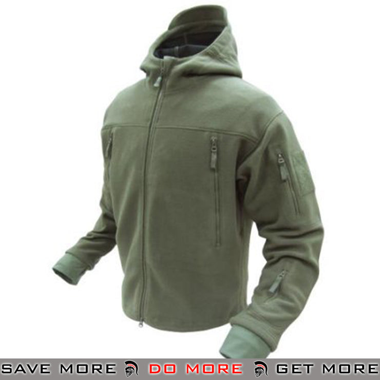 Condor Tactical Sierra Micro Fleece Jacket w/ Hood (OD Green / Medium) Jackets / Sweaters / Hoodies- ModernAirsoft.com