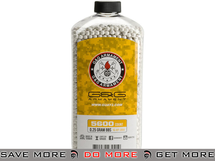 G&G Airsoft  Precision 6mm Airsoft BBs - 0.25g White (5600 rounds) 0.23g & 0.25g BBs- ModernAirsoft.com