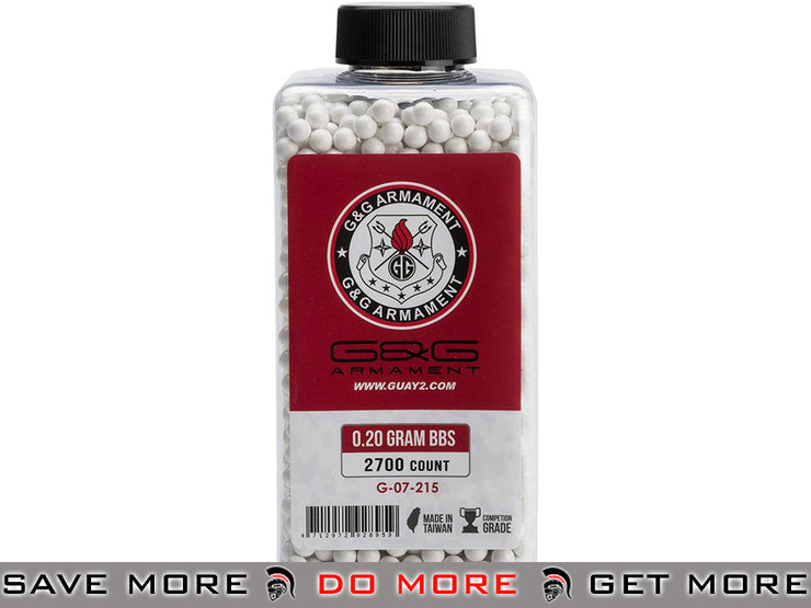 G&G Airsoft Precision 6mm Airsoft BBs 0.20g White (2700 rounds) 0.20g BBs- ModernAirsoft.com