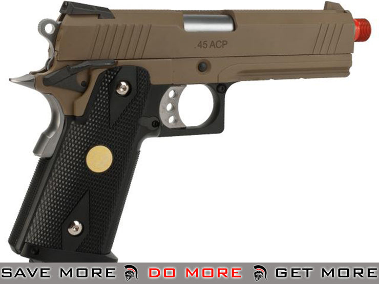 WE-Tech Tan 4.3 Inch 2011 HI-CAPA Railed Frame Heavy Weight Airsoft Gas Blowback Pistol WE / CQB Master- ModernAirsoft.com