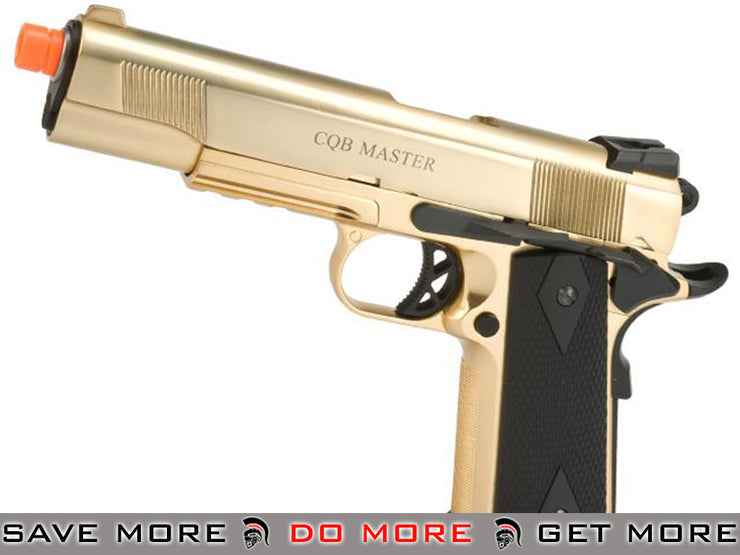 WE-USA Metal 1911 Railed Frame Heavy Weight Airsoft Gas Blowback Pistol - (Gold Plated) Gas Blowback Pistol- ModernAirsoft.com
