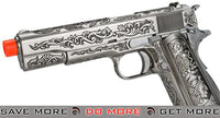 WE-Tech Full Metal Filigree 1911 Heavy Weight Airsoft Gas Blowback Pistol - Silver - Modern Airsoft