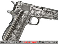 WE-Tech Full Metal Filigree 1911 Heavy Weight Airsoft Gas Blowback Pistol - Silver WE / CQB Master- ModernAirsoft.com