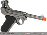 "WE WWII Full Size / Metal Luger Airsoft Gas Blowback - 4"" Barrel / Silver WE / CQB Master- ModernAirsoft.com"