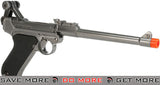 "WE WWII Full Size / Metal Luger Airsoft Gas Blowback Pistol (8"" Barrel / Silver) WE / CQB Master- ModernAirsoft.com"