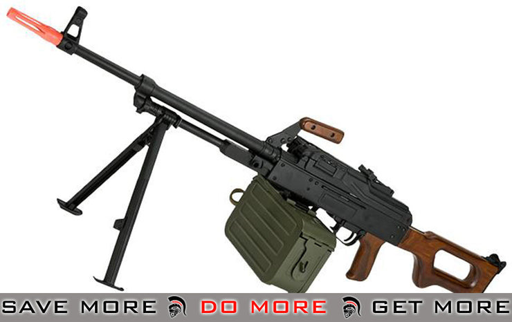 A&K PKM Russian Battlefield Support Weapon AEG (Real Wood) Heavy Weapons- ModernAirsoft.com
