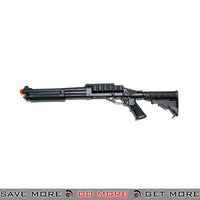 JAG Arms Scattergun TSS Gas Shotgun Airsoft Gun w/ Side Saddle [JAG SG TSS BLK] - Black, Collapsible Stock Gas Shotguns- ModernAirsoft.com