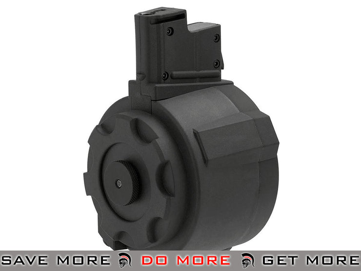 Angel Custom 1500 Round Firestorm Airsoft AEG Drum Flashmag (Black / AUG Adapter) Electric Gun Magazine- ModernAirsoft.com