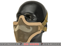"6mmProShop ""Moustache"" Iron Face Carbon Steel Mesh Lower Half Mask - Tan"