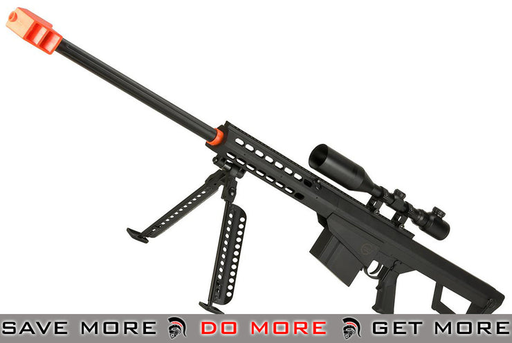 Lancer Tactical Polymer LT-20B M82 Spring Powered Airsoft Sniper Rifle w/ Bipod (Black) Bolt Action Sniper Rifle- ModernAirsoft.com