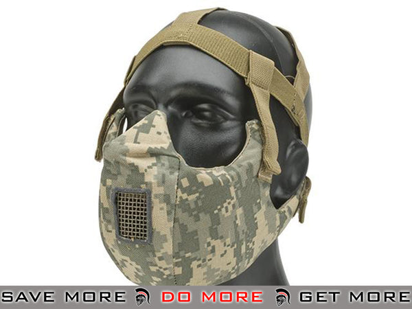 6mmProShop Breathable Padded Dual Layered Nylon Half Face Mask ACU Version 5 (Bump Helmet Straps included)
