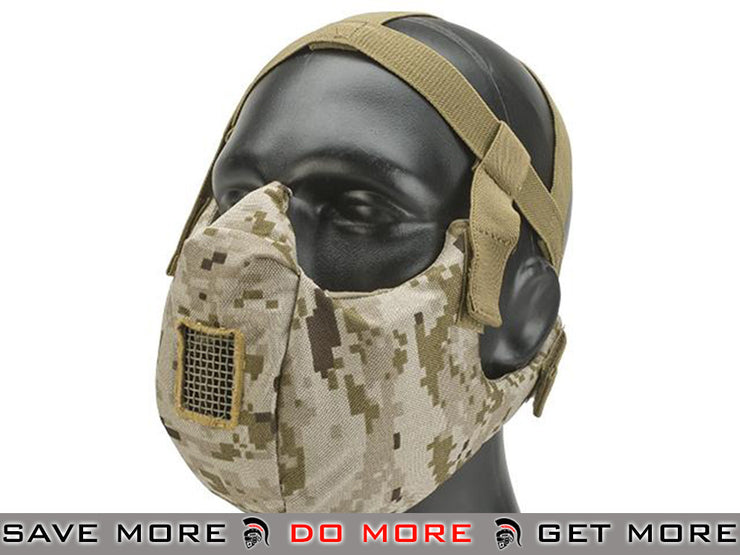 6mmProShop V5 Padded Dual Layered Nylon Half Face Mask w/ Bump Helmet Straps (AOR1) - Modern Airsoft