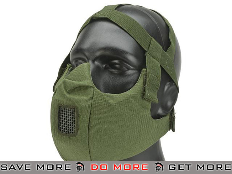 6mmProShop V5 Padded Dual Layered Nylon Half Face Mask w/ Bump Helmet Straps (OD Green) Face Masks- ModernAirsoft.com