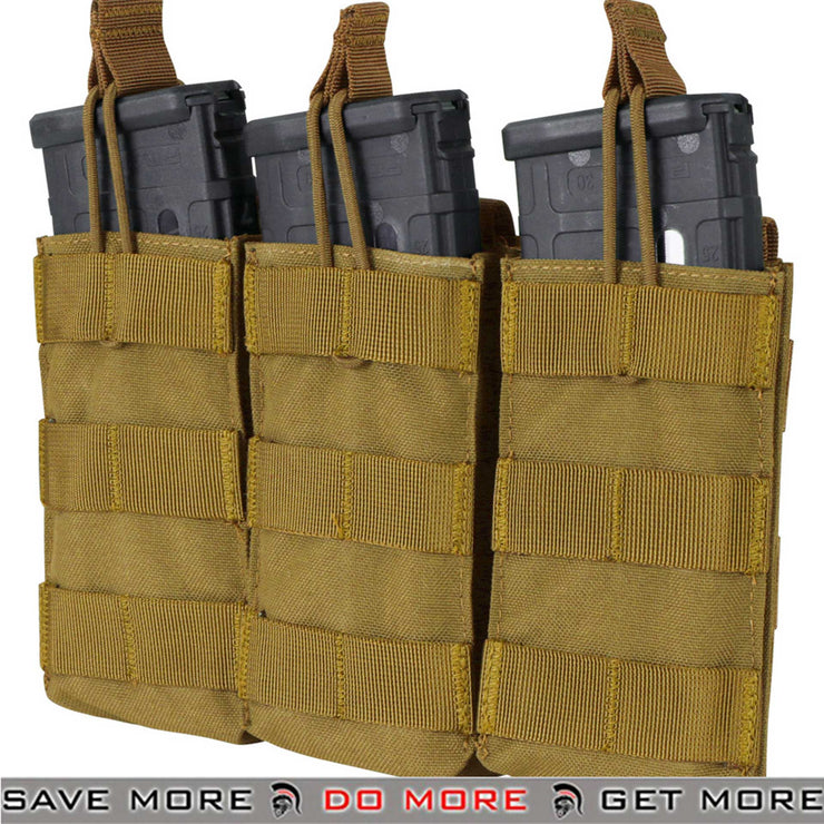 Condor Coyote Brown Tactical Open Top Triple M4 Magazine Pouch-ModernAirsoft