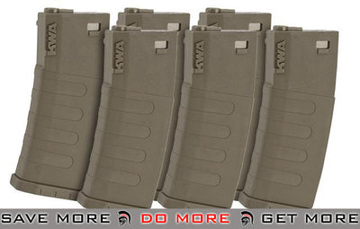 KWA 120rd K120 Polymer Midcap Magazine for M4 / M16 Series Airsoft AEG Rifles - Flat Dark Earth (6 Pack) Electric Gun Magazine- ModernAirsoft.com