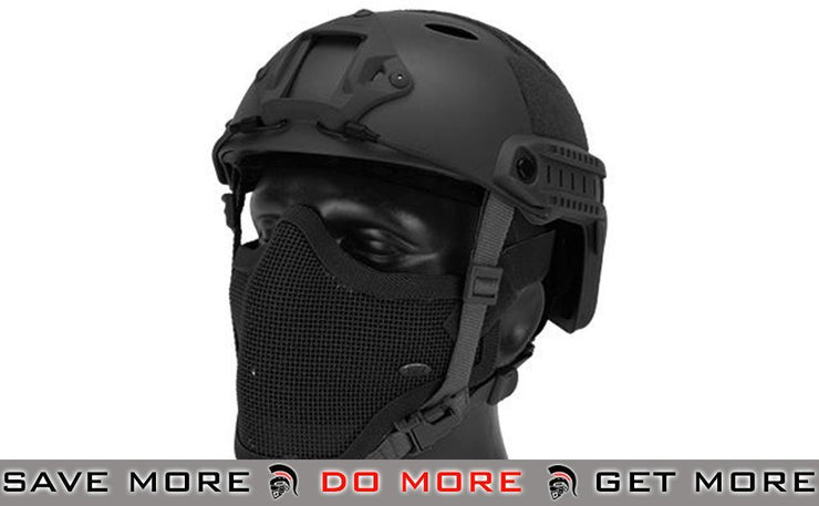 Lancer Tactical PJ Type Bump Helmet Package with Black Gen.1 Strike Mask - Black - Modern Airsoft
