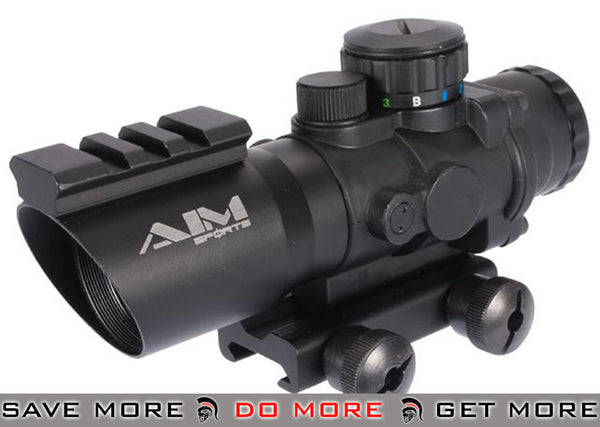 AIM 4x32 Blue Red Green Tri-Illuminated  Dot Scope Sight w/ Railed Frame