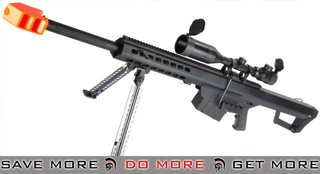 Snow Wolf Custom Long Range Airsoft AEG Sniper Rifle (V.2 Gearbox) - Black / Short Barrel (Rifle & Bipod Only) Airsoft- ModernAirsoft.com
