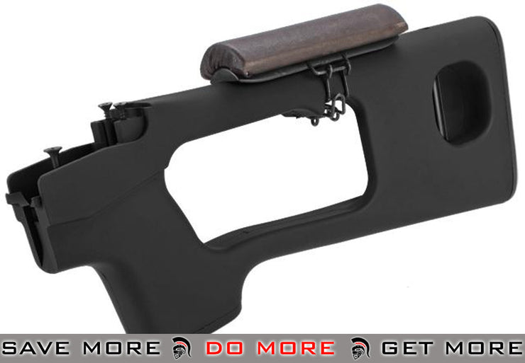 AIM Top Black Polymer Stock with Cheek Rest for SVD Series Airsoft Sniper Rifles Stocks- ModernAirsoft.com