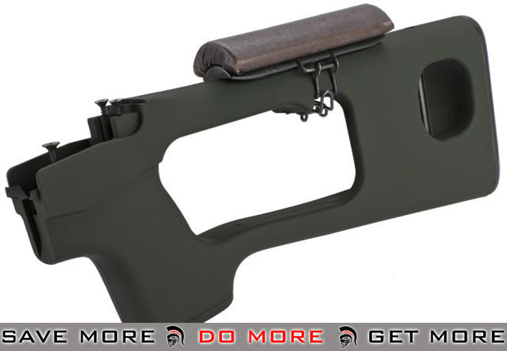 AIM Top OD Green Polymer SVD Stock w/ Cheek Rest for Series Airsoft Sniper Rifles Stocks- ModernAirsoft.com