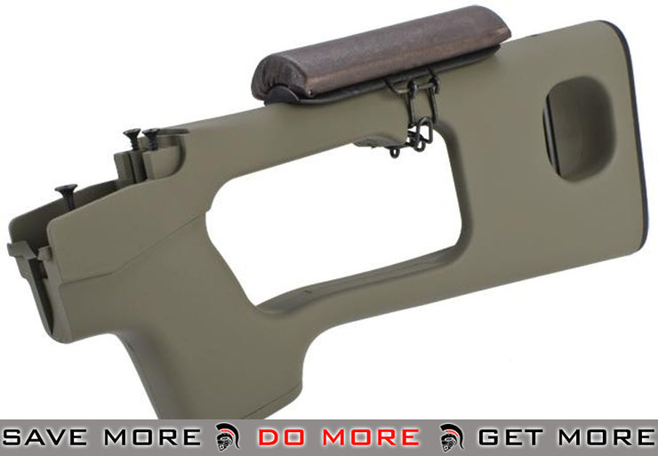 AIM Top Tan SVD Polymer Stock with Cheek Rest for  Series Airsoft Sniper Rifles Stocks- ModernAirsoft.com