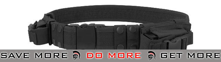 Condor Tactical Pistol Belt w/ Mag Pouches (Black) Belts- ModernAirsoft.com