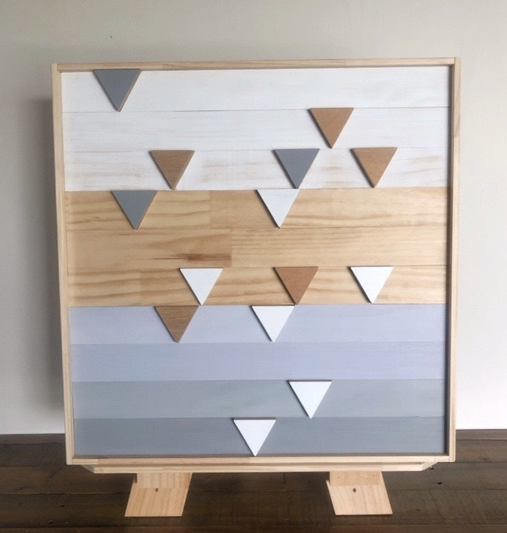 Geometric Drip Wood Art